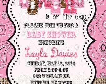 4x6 Cowgirl Shower Invitation- Baby Shower Invitation