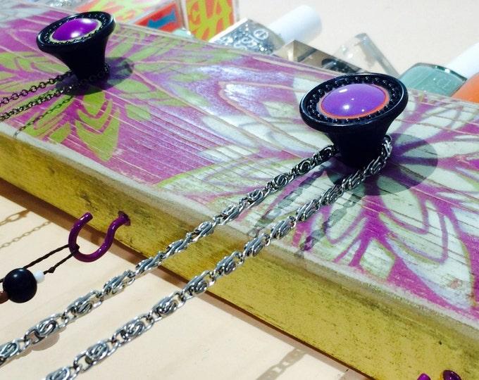 Necklace holder /jewelry organizer /reclaimed wood coat rack /mandala wall hanging decorative jewellry storage 3 hand-painted knobs 4 hooks