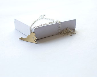 State Necklace! State of Virginia Necklace! Sterling silver chain