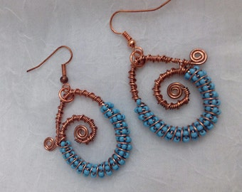 Copper wire-wrapped earrings with blue beads