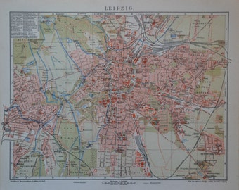 Leipzig map at the beginning of the 20th century.  Old book plate,1901.  113 years lithograph. 12'3 x 9'8  inches.