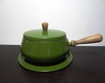 Clearance - Vintage Avocado or Olive Green Fondue Pot with Wood Handle, Lid and Under Plate - Mid Century Modern Danish Style