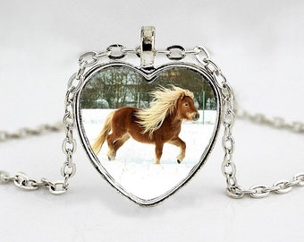 Shetland Pony Heart Pendant Necklace - Horse Lover Gifts - Western Wear
