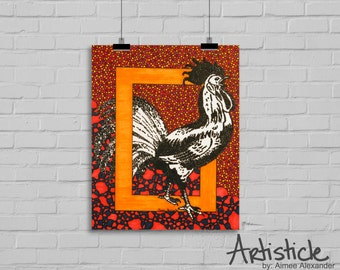 Rooster Art Print - Chicken Drawing - Modern Country Decor - Red Orange Art - Kitchen Decor - Geometric Artwork - Bird Print - Kids Room Art