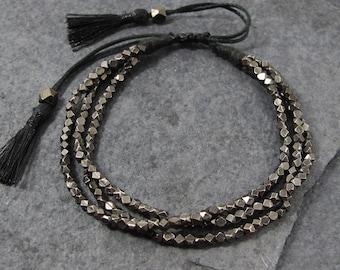 Black Tassel Bracelet, Boho Bracelet, Bohemian Bracelet, Beaded Bracelet, Boho Jewelry
