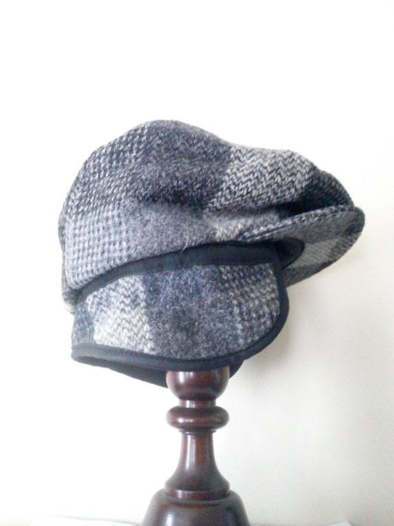 vintage s eddie bauer harris tweed wool cap with flaps