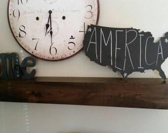 Wood Blackboard United States Map Cutout, Scroll Cut Map, Chalkboard Wood America Map Wall Hanging, USA Map Sign, Teacher Classroom Decor