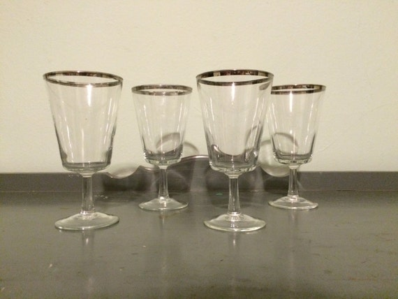 four tapered square bottom wine glasses with silver by