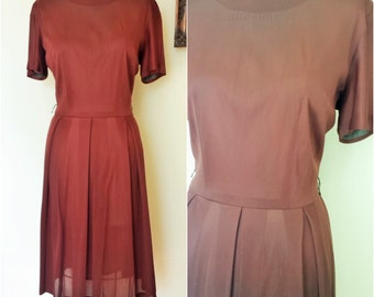 Vintage 1950s Brown Dress  / 1950s Day Dress / Chocolate Brown 50s Nylon Dress / Casual Dress