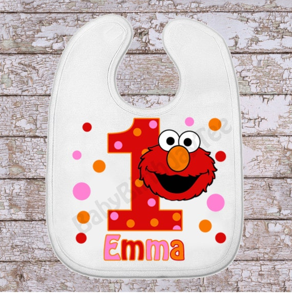 1st Birthday Bib Elmo Bib Birthday Girl Bib By Babybirthdaytee