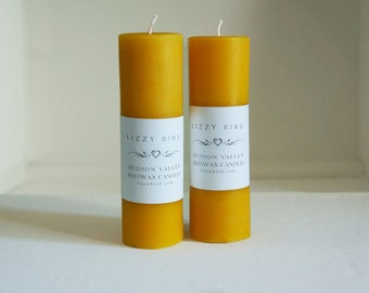 Long Candles, Beeswax Pillar Candles, Two Pillars, Beeswax Candles, Standard Pillar Candles, 6 Inch Pillars, Custom Color Candles