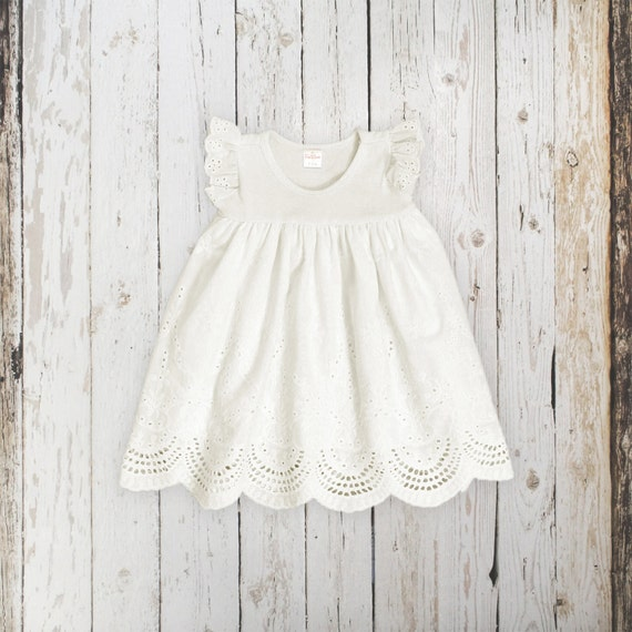 18 24m Baby Girl Eyelet Dress Ivory Cotton Flutter Sleeve