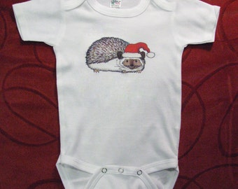 Unique Baby clothes, Cute baby clothing, Hedgehog baby, Christmas Baby, Santa Hat, Holiday, Christmas gift, Xmas baby