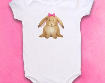 Cute Baby Bodysuit, Unique Baby Clothes, Easter, Bunny, Animal baby clothes, Rabbit Baby, Lop Ear Bunny, Girl, Girly, Bunny baby