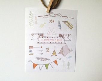 Instant Download Poster - I Love to Camp - Hand Drawn Camping Print - 8x10