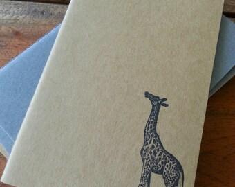 Pocket Kraft Moleskine Giraffe Stamped Notebook : Hand-stamped Travel Journal