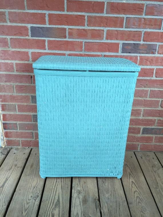 Vintage turquoise wicker hamper laundry basket - White wicker clothes hamper ...