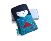 Phone case, adorable doll Japanese girl in a blue kimono, small gadget pouch, small pouch.