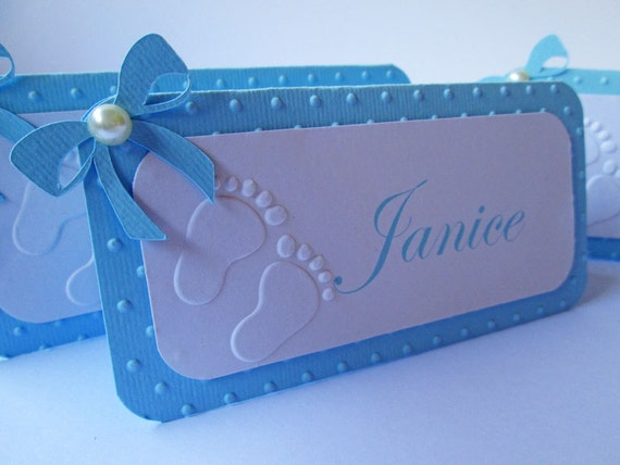 Italian Boy Name: 10 Personalized Blue Boy Baby Shower Place Cards Name Cards