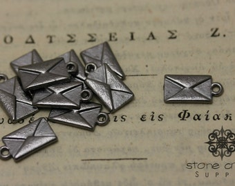 Gunmetal Back - Love Letter - Envelope Charm Pendant - Nickel Free, Lead Free & Cadmium Free, RoHS Certified - 16.5mm 9mm - QTY 5 - 6031118