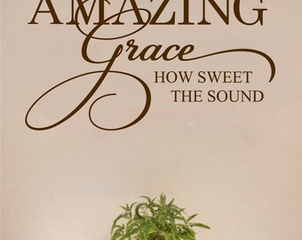 Amazing Grace Vinyl Wall Decal Inspirational Decal for Bedroom Family Room Home Decor Vinyl Lettering