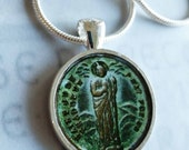 "St Jude Thaddeus Apostle Pendant with 20"" Sterling Silver Chain - 28mm"