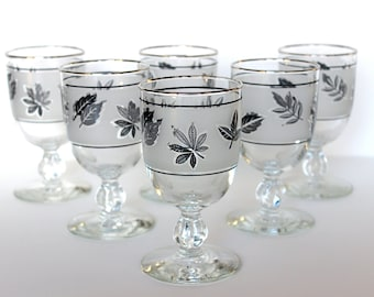 Vintage Libbey Silver Foliage Water Goblets Wine Glasses