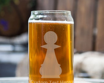 Pawn Chess Piece Customizable Etched Glassware Beer Can Glass Barware Gift