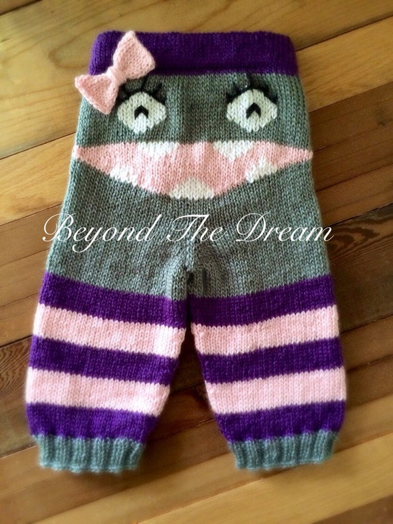Knit Monster Butt Pants Knitted Girl by BeyondTheDreamStudio