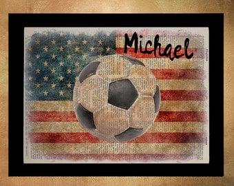 Soccer Personalized Dictionary Art Print Football Name Sports Gift for Men Man Cave Gifts For Boys Room Wall Art da685