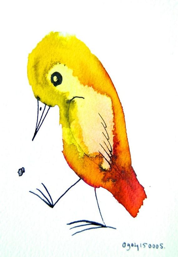 Vogel schilderij originele inkttekening geel rood - Originele toiletdecoratie ...