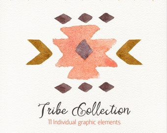 Watercolor tribe collection / ethnic /individual PNG flies