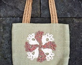 TREASURY ITEM: Unique handmade green (sage) burlap summer tote bag with Irish lace (Art Deco) crochet applique