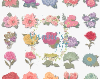 62 Flower Rose Digital Download Scrapbooking Wedding Clip Art b28