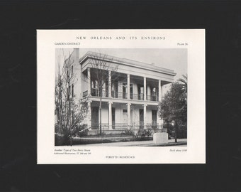 "New Orleans and Its Environs 1727-1870 matted photo,  ""Forsythe Residence""  circa 1848 - arch00238"