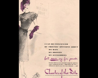 Vogue magazine ad for Charles of the Ritz cosmetics, matted - Beauty0312
