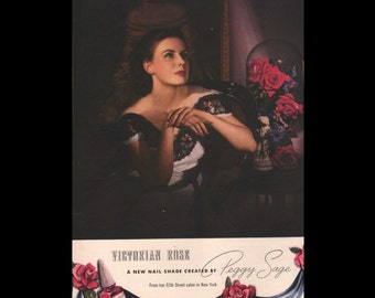 Vogue magazine ad for Victorian Rose nail polish by Peggy Sage, matted - Beauty0314