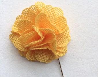 Lapel Flower, Mens Lapel Pin, Burlap Lapel Pin, Burlap Flower, Burlap, Rustic Lapel Pin, Boys Accessory, Boutonniere, yellow lapel pin