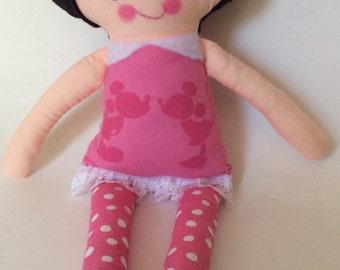 "Handmade Girl Cloth Doll 13"" Georgia Plush Softie Rag Doll With Pink Dress Black Wool Felt Hair"