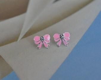 Sterling Silver Bow Earrings / Bow Stud Earrings / Tiny Bow Earrings / Ribbon Earrings / Silver Bow Earrings
