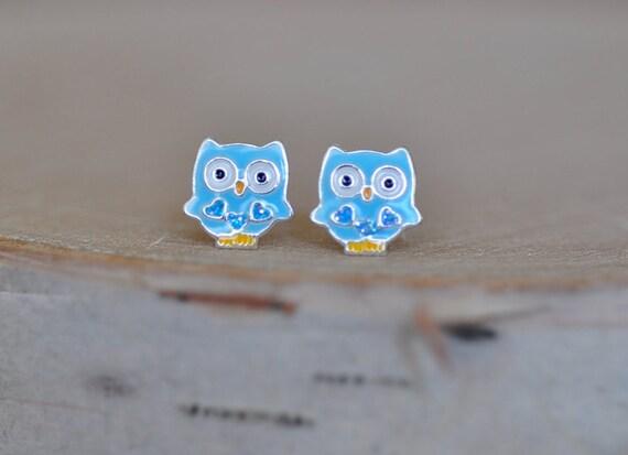 blue owl sterling silver 925 stud earrings sterling silver