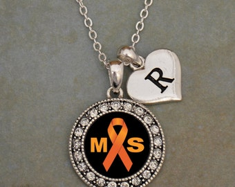 Custom Initial Multiple Sclerosis Awareness Necklace