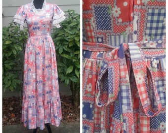 70s Maxi Gypsy Dress Americana Prairie Victorian Floral Patchwork Boho Hippie Long Dress S-M