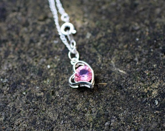 Silver Necklace with Pink Crystal Heart Pendant