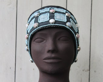 Womens hat.Creating unique and fully realized by hand.Beaded Hat
