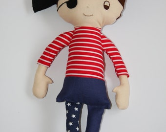 Pirate Rag & Rattle Doll (fabric handmade pirate boy or girl dolll) custom made toy, can be personalised with initial