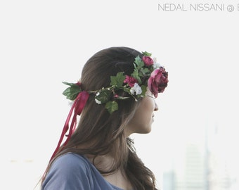 Floral headband with burgundy roses and burgundy ribbon