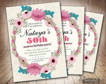 Printable Adult Birthday Party Invitation,Floral Birthday Invitation,50th Birthday Invitation Elegant,Woman 40th 60th Birthday Invitation