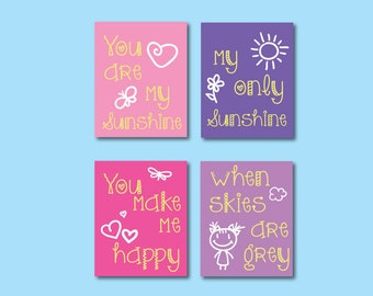You are My Sunshine Kids Art Print, Childrens Art Print, Wall Art, Kids Art Print, 610