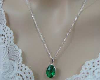 Emerald Necklace, Sterling Silver, 10x14mm Emerald Pendant, Emerald Gemstone, May Birthstone Jewelry, Green Gemstone Necklace